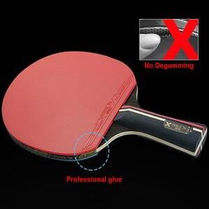 Image 3 - 1 paire Huieson raquettes de Tennis de Table lame en caoutchouc professionnel carbone ping pong batte longs picots porte plume pagaie avec sac 3 balles