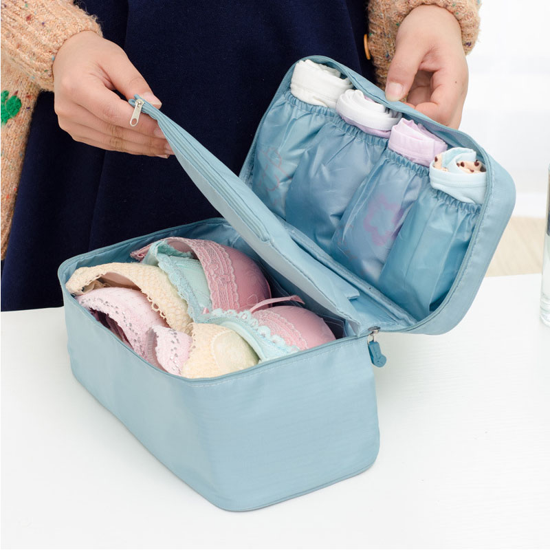 Storage Bags Family Organizador Moistureproof Waterproof Travel Accessories Nylon Save Space  Antibiosis Underwear Bra Bag(China)