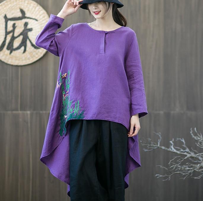 Wild dark Grey Nine Female Autumn blue neck Beige Collar Women O Sleeve 2019 Spring Emboridery red Floral Irregular Shirts purple Quarter Streetwear Tops Retro O1RTC