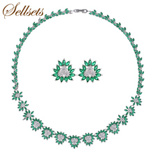 Sellsets Luxury Jewellery Set Micro Zircon Chain Chokers Necklace Earrings Sets for Women