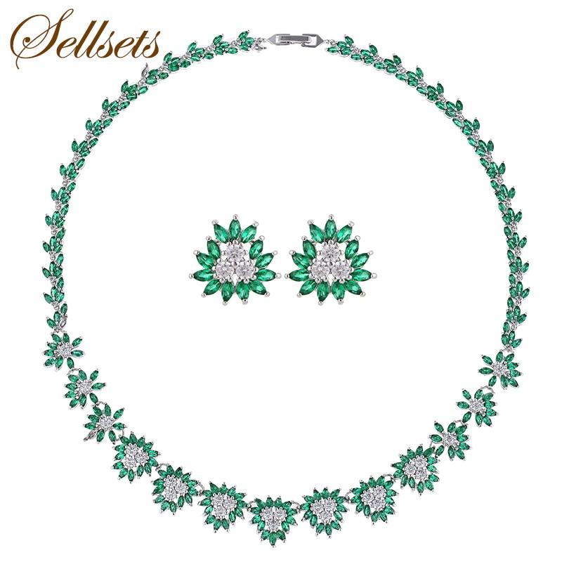 Sellsets ensemble de bijoux de luxe Micro Zircon chaîne Chokers collier boucles d'oreilles ensembles pour les femmes