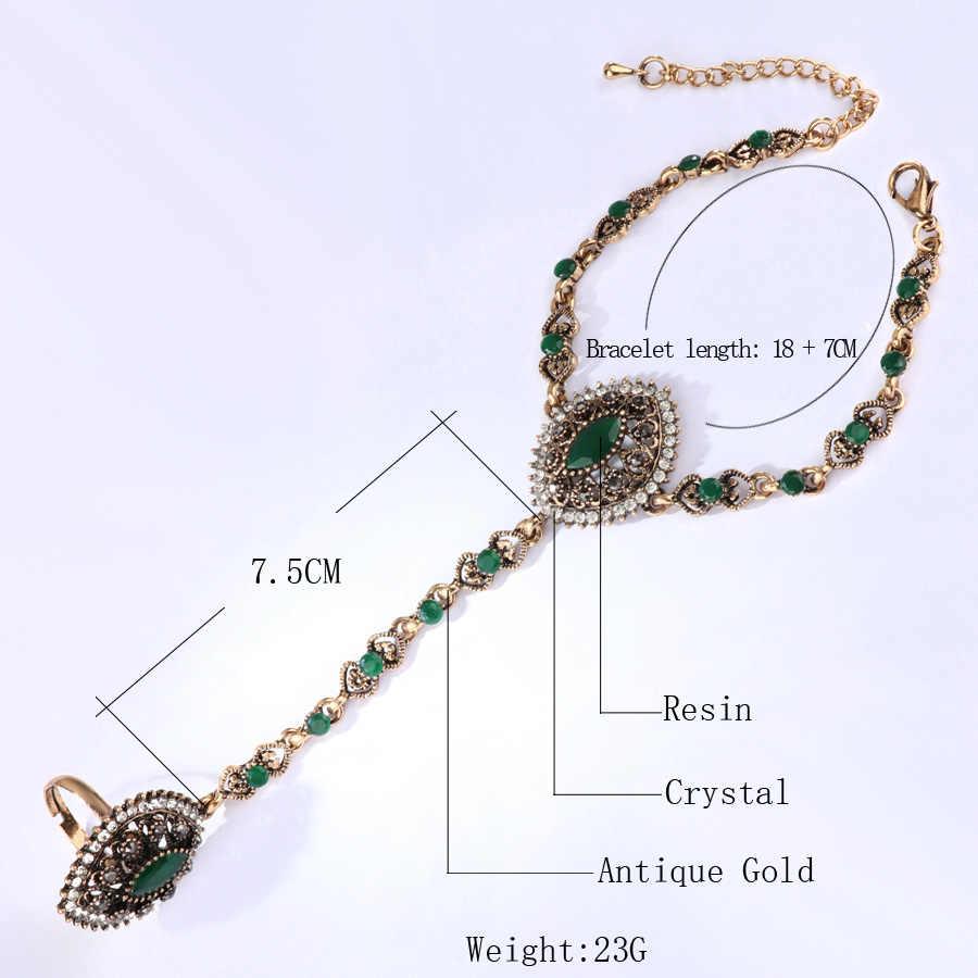 Kinel 2017 קישור טבעת צמיד ערכות תכשיטי דובאי חדש לנשים זהב עתיק בוהמי תכשיטי חתונת המפלגה חג המולד מתנות