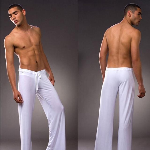 Мужские Белый Серый Черный Кофе Молока Шелковые Пижамы Пижамы Брюки Гостиная брюки Сна Топы Бесплатно S M L XL XXL XXXL Плюс брюки