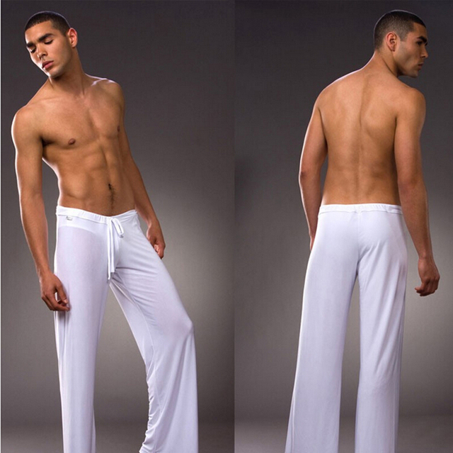 Mens White Coffee Gray Black  Milk Silk Pajamas Pyjamas Pants Lounge Pants Sleep Bottoms Free S M L XL XXL XXXL Plus trousers