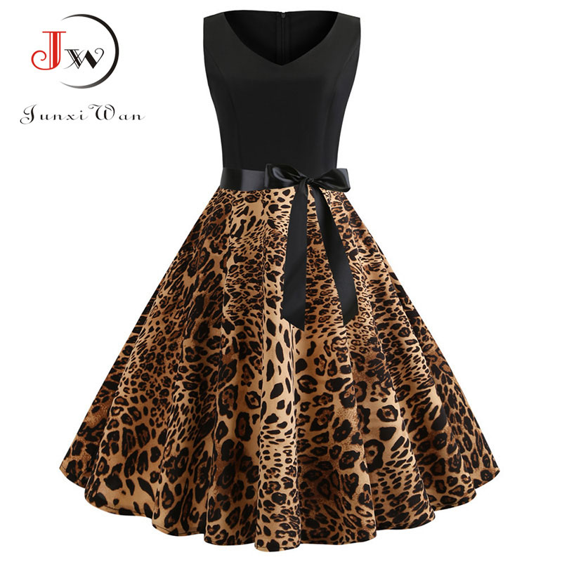 Sexy Party Leopard Print Sleeveless Summer Dress Women Casual Chic Midi Dresses 50s 60s Vintage Rockabilly Dress Robe Plus Size