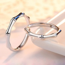 1 Pair Creative Panda Food Bamboo Finger Rings Copper Plated Silver Couple Anniversary Gift
