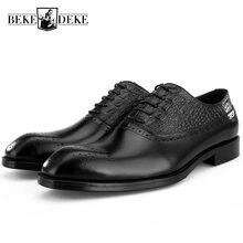 f0379b92c Itália Escritório Homem de Couro da Vaca Real Sapatos Formal de Negócios  Brogue Lace Up Oxfords Dedo Do Pé Quadrado Macho Noivo .