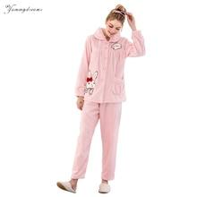 Фотография Yummydreams 2017 flannelette pajama Set autumn and Winter warm long sleeve pajamas Women sleepwear M-XL Flannel Femme Nightgown