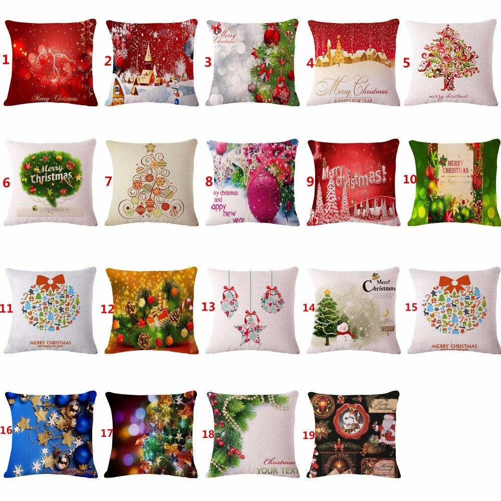 Housse de coussin décorative Joyeux Cadeau De Noël Coton Lin Housse de Coussin de Siège Pour Canapé Décor À La Maison funda cojines taie d'oreiller