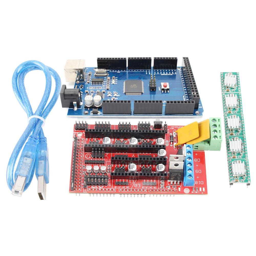 3D Printer Kit Mega 2560 R3 Development Board + RAMPS 1.4 Controller Control for arduino Atmega2560 REV3+4PCS A4988 Drivers 2560 r3 development board kit black blue
