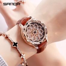 SANDA New Women Rhinestone Watches Lady Dress Watch Diamond Luxury Brand Bracelet Wristwatch Ladies Crystal Quartz Clocks