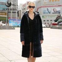 JEPLUDA Real Fur Vest Warm Women's Down Coat Parka Winter Long Hooded Natural Sheep Shearing Real Fur Coat Winter Jacket Women