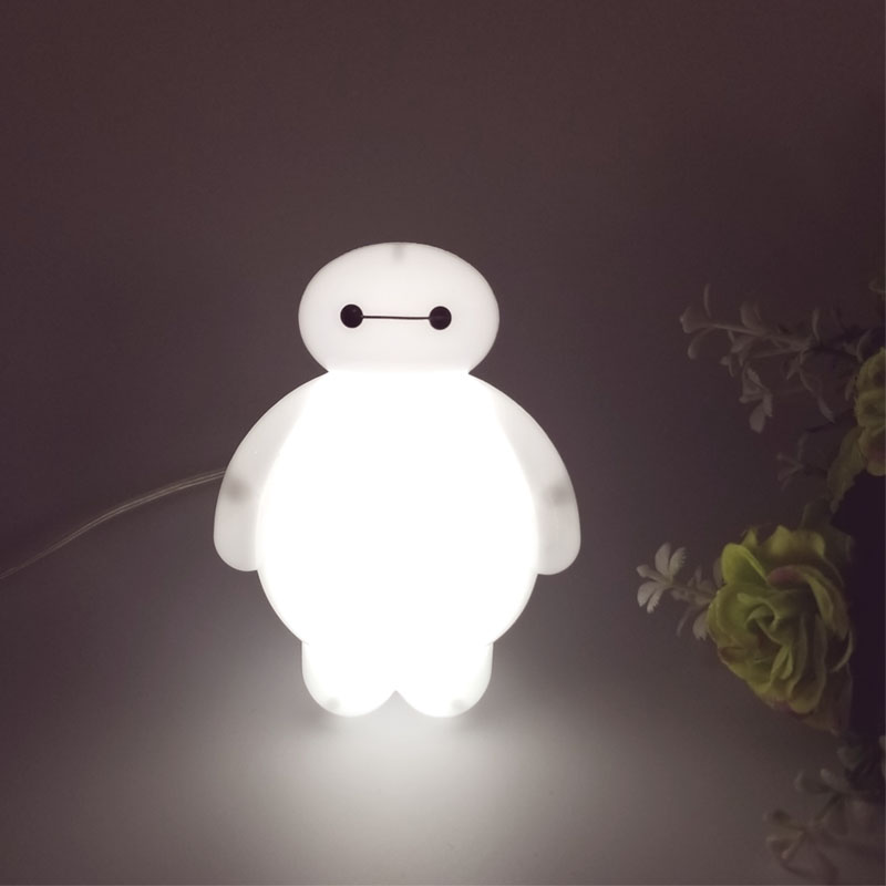Top Baymax Cartoon night light lamp 110V 220V US plug baby room led energy saving lamp kids light bedside lamp lighting