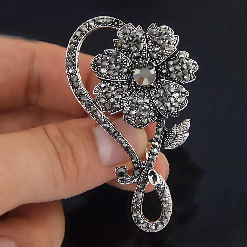 """Hot Big 3/"""" Huge Feather Clear Crystal Rhinestone Women Wedding Prom Brooch Pin"""