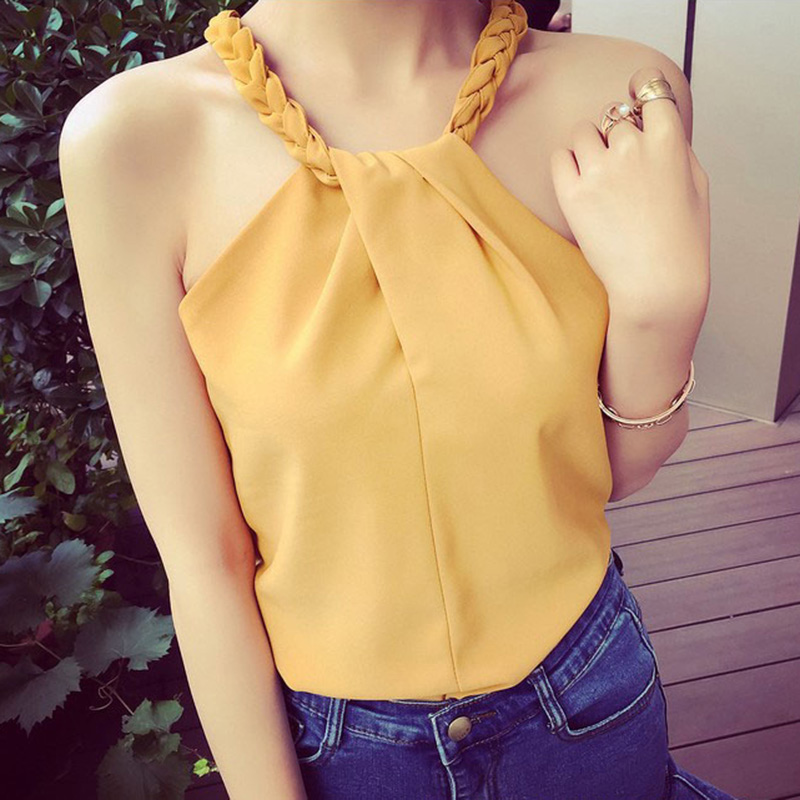 Summer Women Knitted Sleeveless Solid   Tank     Tops   Ladies Woven Straps Halter Ruched   Tops   Sexy Off Shoulder   Tanks