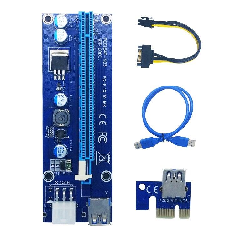 006c PCI-E extender PCI Express Riser Card 1x to 16x USB3.0 SATA to 6Pin IDE Molex Power for BTC Miner Machine 10pcs 006c blue 1x to 16x pci express riser card pci e extender 60cm usb 3 0 cable sata to 6pin power for btc miner raiser card