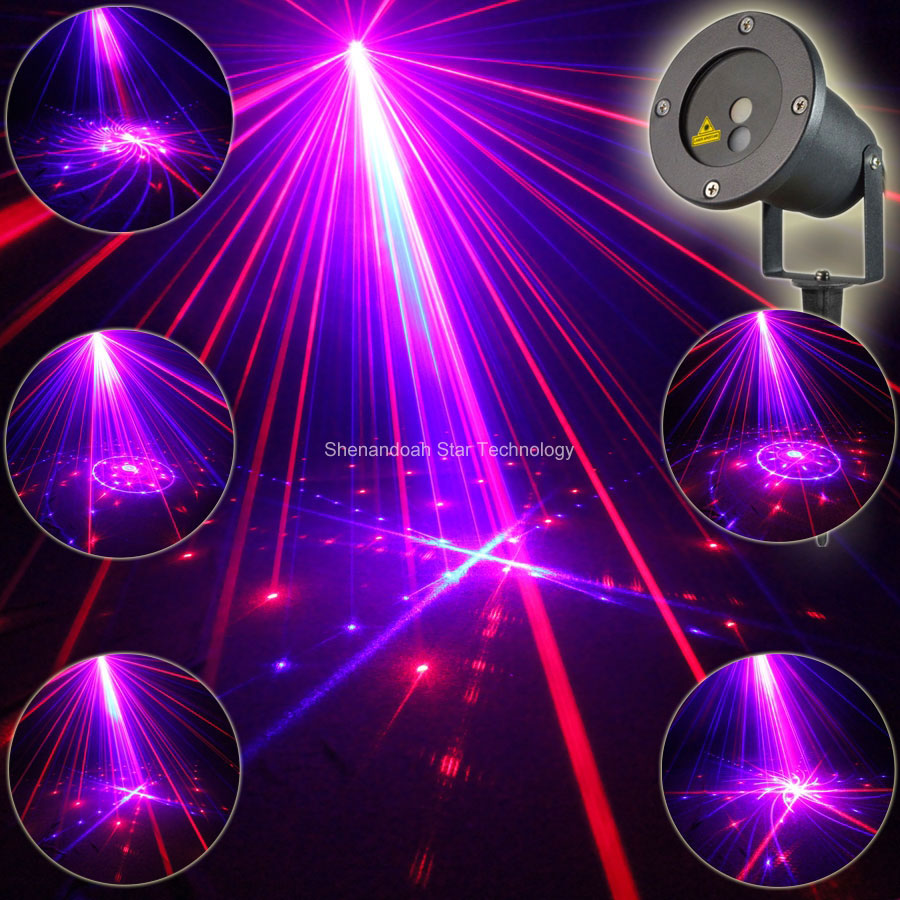 Outdoor Waterproof R&B Blue Laser 24 Patterns Projector Indoor Holiday House Xmas Tree Wall Lighting Landscape Garden Light T99 rg mini 3 lens 24 patterns led laser projector stage lighting effect 3w blue for dj disco party club laser