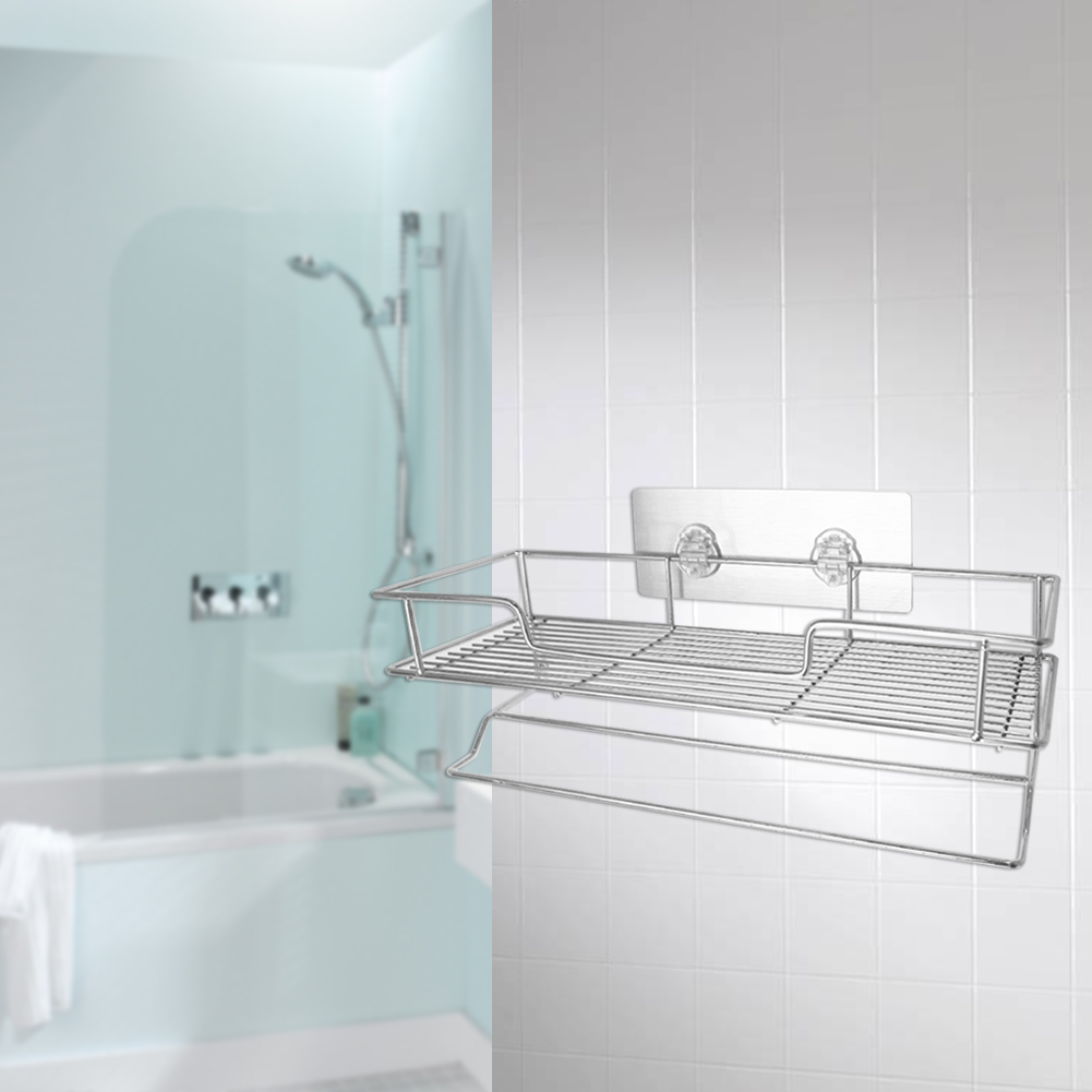 Wall Mount Seamless Shower Rack Stainless Steel Shower Basket ...