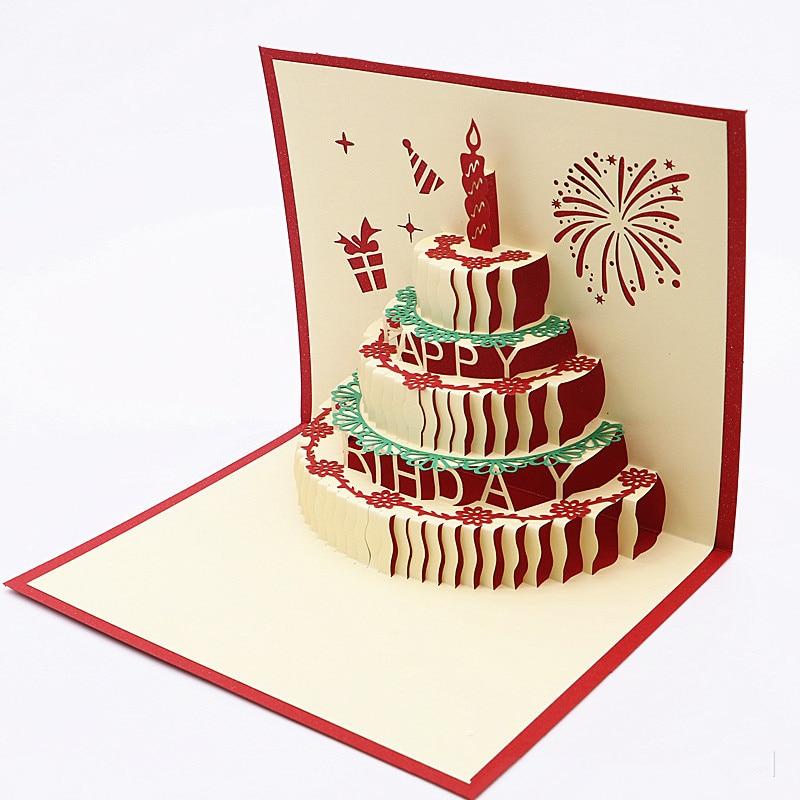 1pcs happy birthday postcard blank paper 3d handmade up
