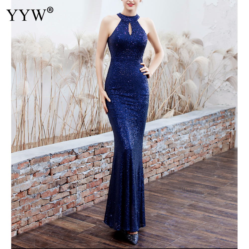 Elegant Sequined Halter Sleeveless Mermaid Long Evening Dress 11