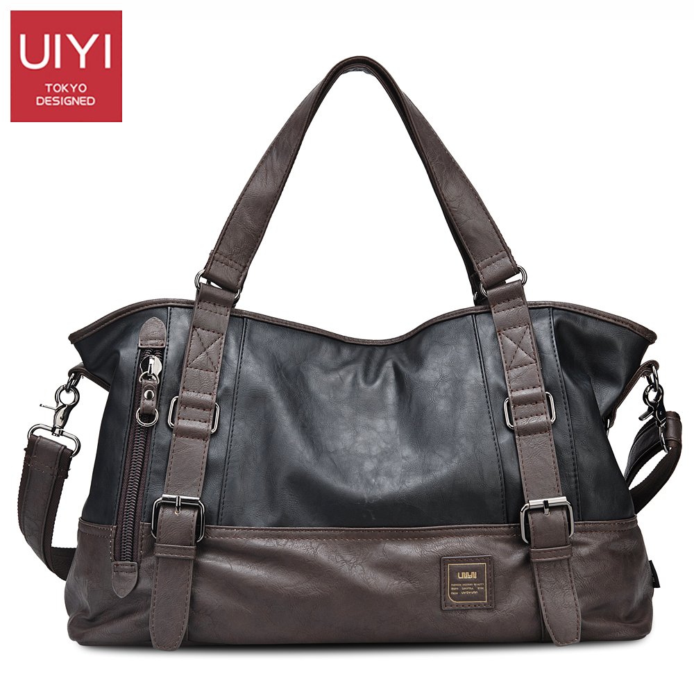 UIYI Casual Men Handbag PU Shoulder Bags Men's Bag 14 inches Laptop man Totes Crossbody bags Shoulder straps long 130cm