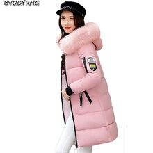 Большой меховой воротник Зимняя куртка Для женщин Новинка 2017 года зима длинный тонкий парка утолщение большие размеры теплая куртка женская верхняя одежда Q776