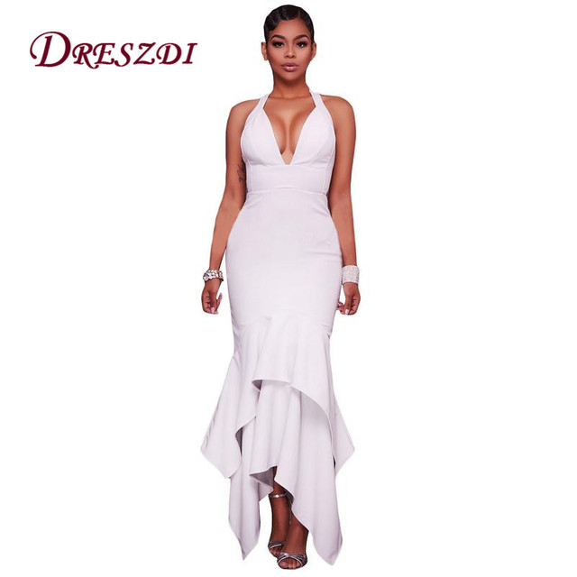 Dreszdi Elegant Women Spaghetti Strap Asymmetric Hemline Party Dresses Cross Back Long Bodycon Formal Wear Maxi