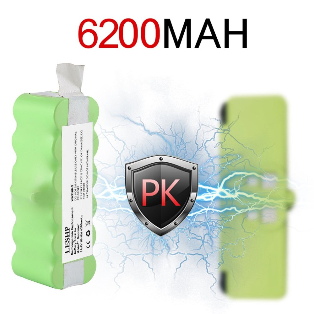 High Quality 14.4V 6200mAh Battery Capacity NI-MH Battery for iRobot Roomba Vacuum Cleaner 500 600 700 800 Series for family for irobot roomba 500 aerovac vacuum cleaner accessory kit includes battery side brush ni mh 14 4v