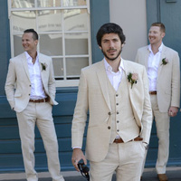 2018 Summer Suits Beige Beach Suits Men Linen Wedding Suit Bestman Groomsmen Marriage Tuxedo Custom Made Man Suit 3 Piece