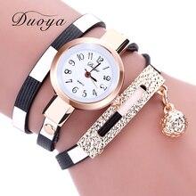 2017 DUOYA New Fashion Watches Women Pendant Gold Luxury Women Leather Bracelet Watch Ladies Vintage Dress Quartz Wristwatch