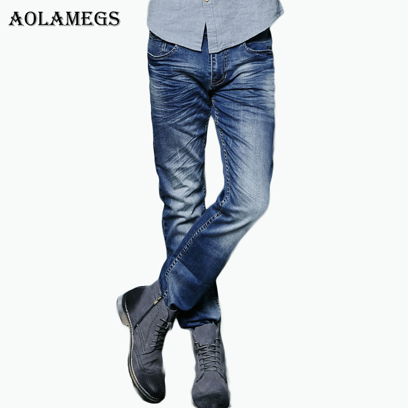 Aolamegs Men Denim Jeans Pants Men 's Elastic Slim Jeans Trousers Male Straight Tide Brand Cowboy Trousers Boys Jeans Bottoms men s jeans men male pants 2017 new men s cotton denim trousers vmc brand men s mid waist straight fashion casual pants