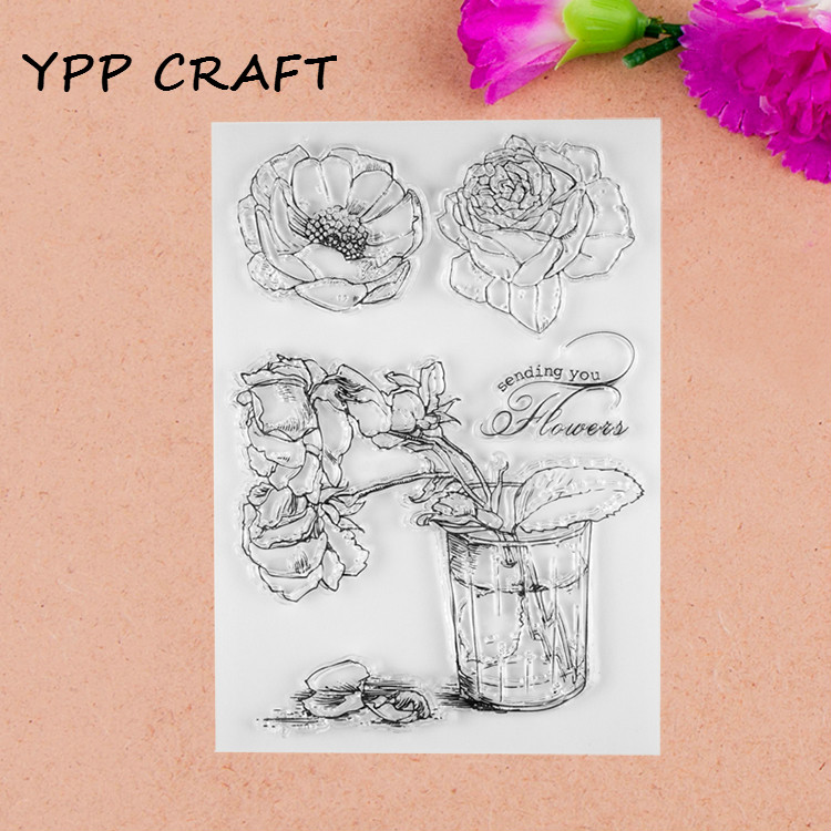YPP CRAFT Rose Transparent Clear Silicone Stamps for DIY Scrapbooking/Card Making/Kids Christmas Fun Decoration Supplies kscraft butterfly and insects transparent clear silicone stamps for diy scrapbooking card making kids fun decoration supplies