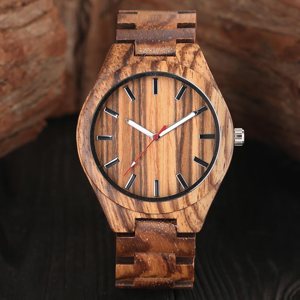 Mens Creative Zebra Natural Wood Watches White and Red Hands Quartz Wristwatches Male Full Bamboo Sports Clock erkek kol saati