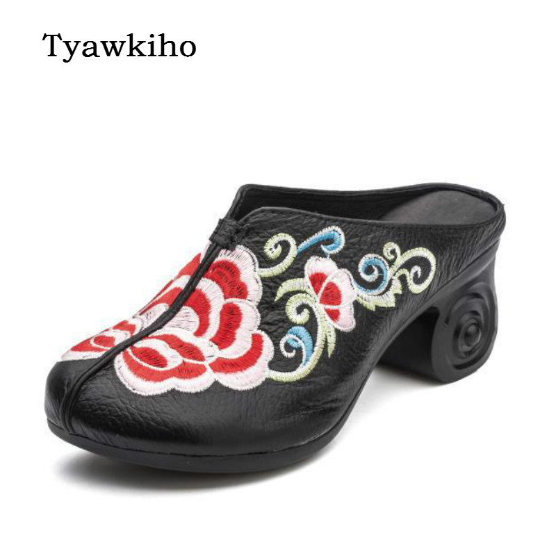 Tyawkiho Embroidery Leather Women Slippers Red Flower Mules Summer Shoes 5 CM High Heels Slippers Retro Leather Shoes Handmade tyawkiho genuine leather women slippers flower summer shoes 6 cm high heels red hollow out slippers retro handmade women shoes