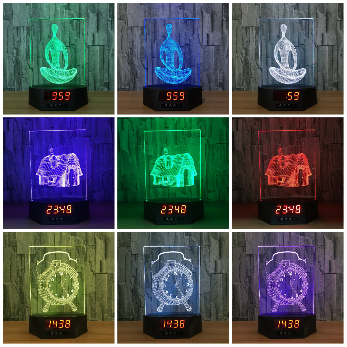 Yoga House Clock Table Lamp 7 Colors Changing Desk Lamp 3D Lamp Novelty Led Night Lights LED Light Drop Ship LED Gift IY803991 usb novelty gifts 7 colors changing animal horse led night lights 3d led desk table lamp as home decoration