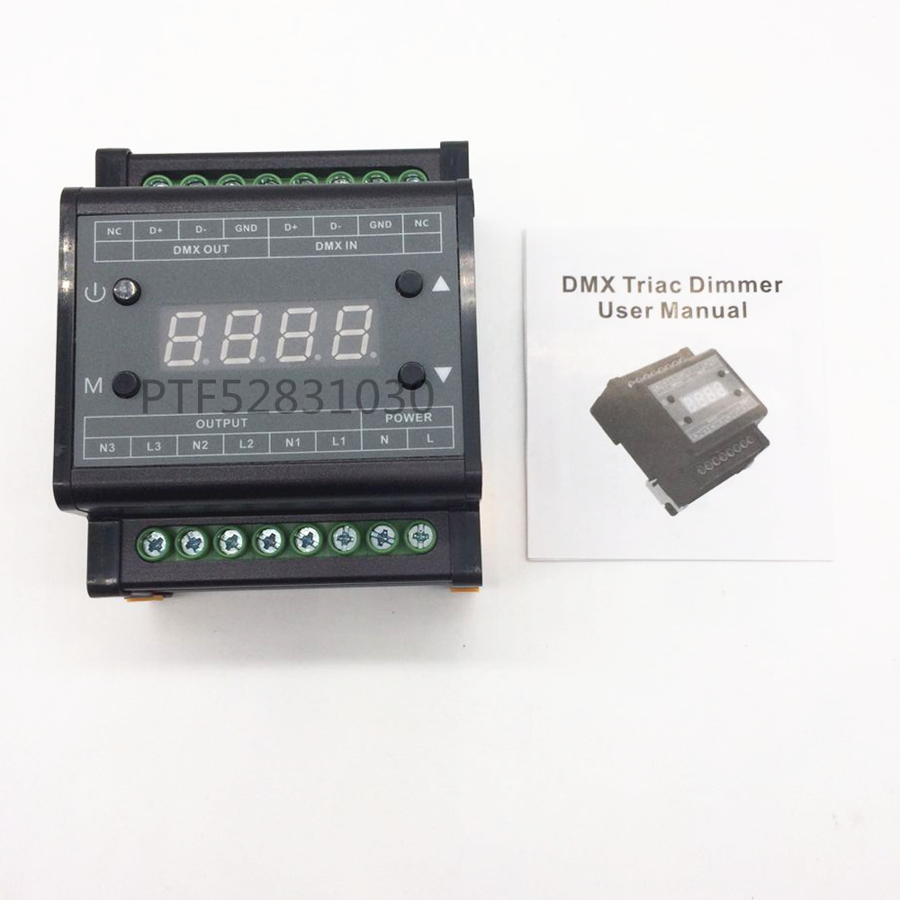 high voltage AC90 240V led dimmer DMX302 DMX triac dimmer led brightness controller 50Hz/60Hz 3channels 1A/channel