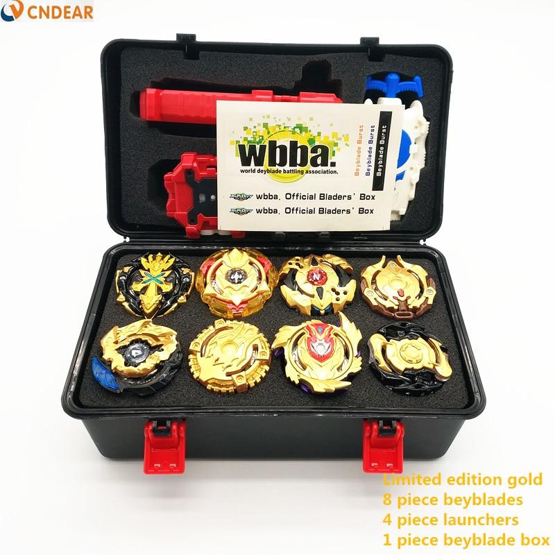 Style doré Beyblade Burst Bey lame jouet métal Funsion Bayblade Set boîte avec poignée lanceur boîte en plastique jouets pour enfants jouets