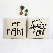 High Quality Lovers Mr Mrs Cotton Valentine Linen Throw Pillow Case Square Print pillow Home Decor