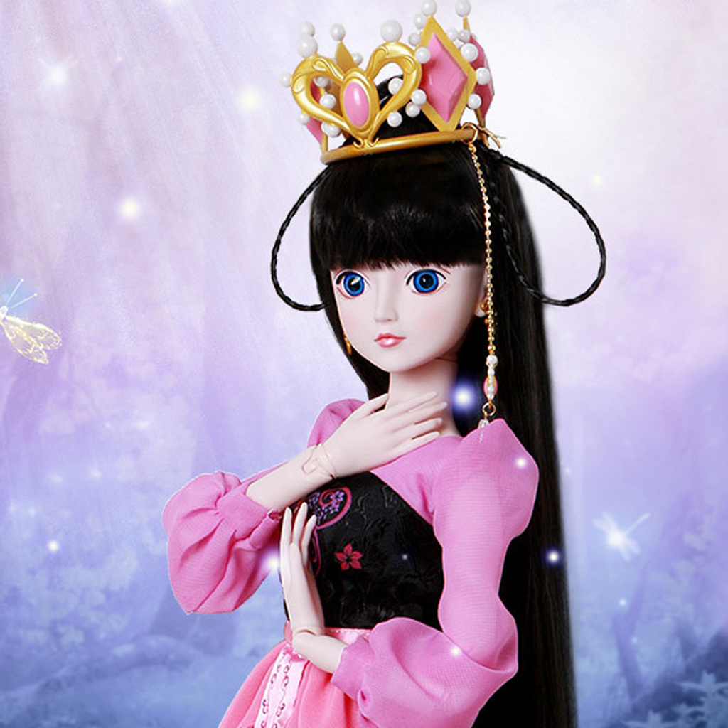 1/3 BJD Dolls Black Hair Wig and Crown Set for 60cm Night Lolita Dolls Accessories