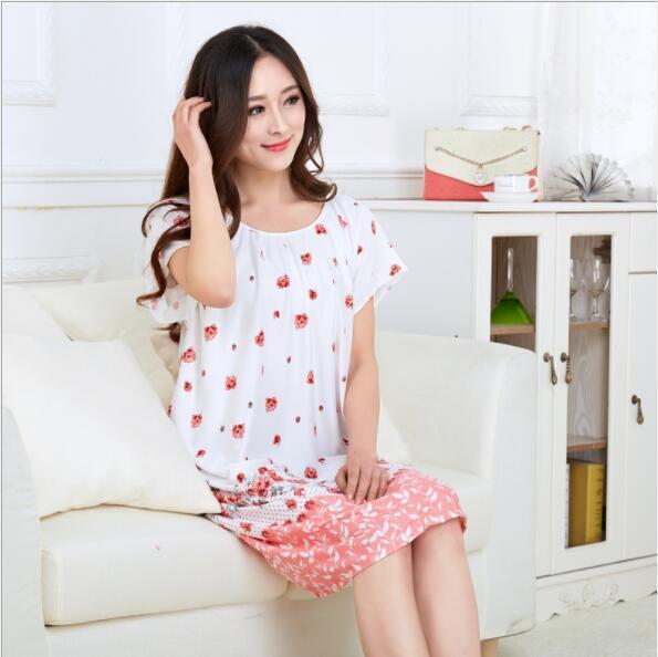 Plus Size Nightgowns For Women 2021 Summer Dressing Gowns Girls Nightshirts Nightdress Cotton And Silk Sleepshirt L-XXL E1082 4