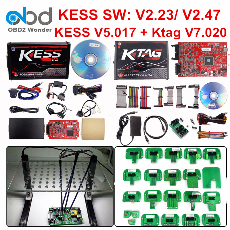 Full Set Ktag 7.020 KESS V2 5.017 V2.47 Red LED BDM Frame ECU Chip Tuning Tool K-TAG V7.020 KESS V5.017 Master Online EU Version(China)