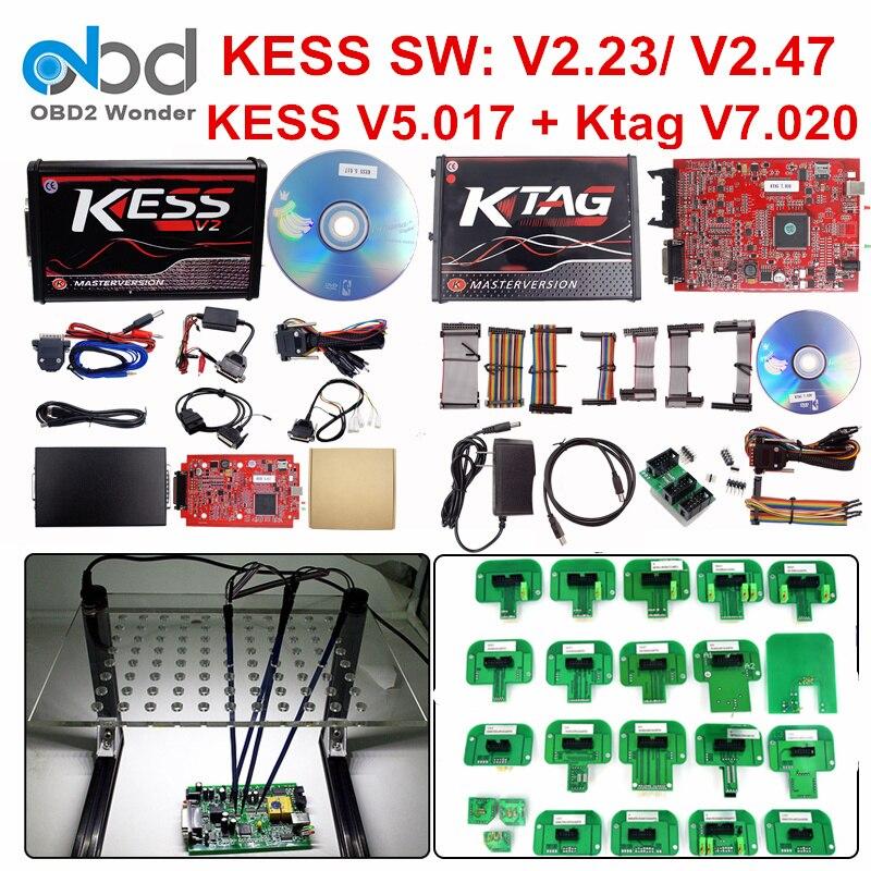 Ensemble complet Ktag 7.020 KESS V2 5.017 V2.47 rouge LED BDM cadre ECU puce outil de réglage K-TAG V7.020 KESS V5.017 maître en ligne Version ue