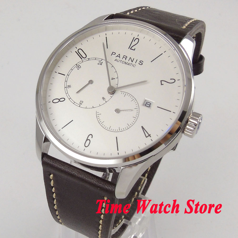 Parnis 42mm men's watch sapphire glass white dial 5ATM 24 hours Golden MIYOTA Automatic movement wrist watch men 1025 luxury brand 42mm parnis white dial sapphire glass miyota automatic movement men s watch