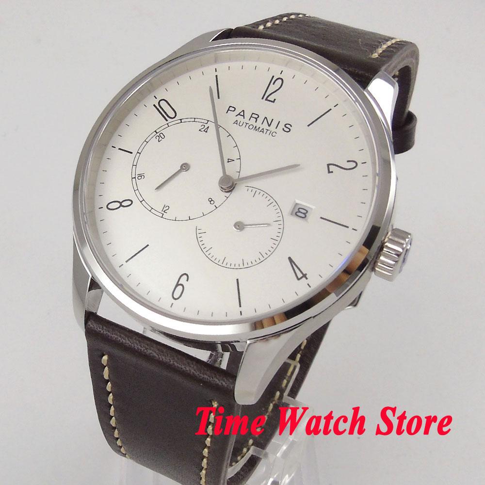 Parnis 42mm men's watch sapphire glass white dial 5ATM 24 hours Golden MIYOTA Automatic movement wrist watch men 1025