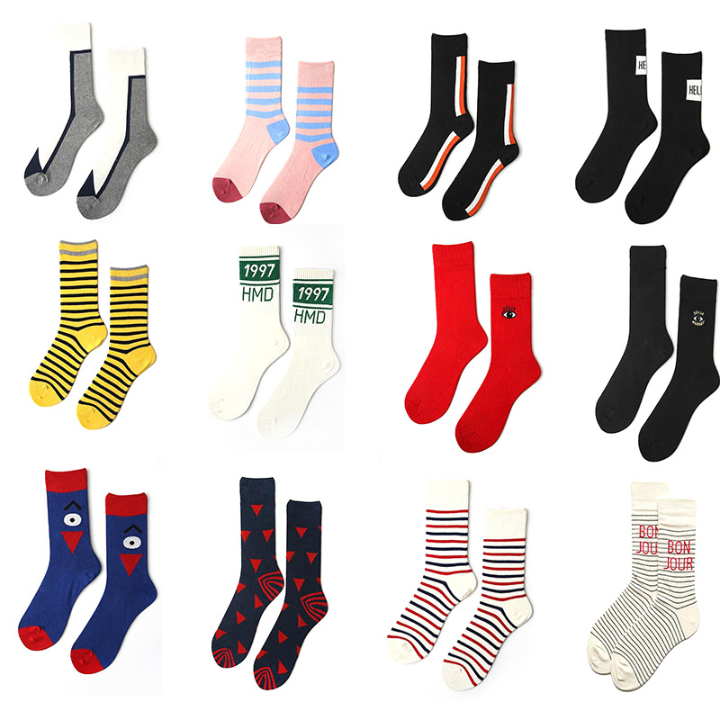 Canjoyn 1Pairs 13Colors Absorb Sweat Cotton Mens Socks Compression Socks Colorful Casual Funny hip hop Happy Socks Men Women