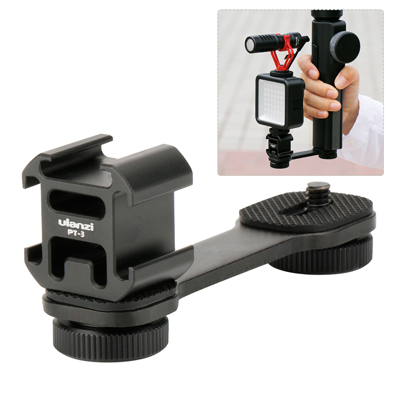 Ulanzi PT-3 Metal Extention Bar w 3 Cold Shoe Mounts for Zhiyun Smooth 4/DJI OSMO/Vimble 2 Gimbal LED Light BY-MM1 Microphone smooth q 4 mic stand l bracket camera handle grip for zhiyun smooth 4 dji osmo led light rode videomicro with 2 hot shoe mounts