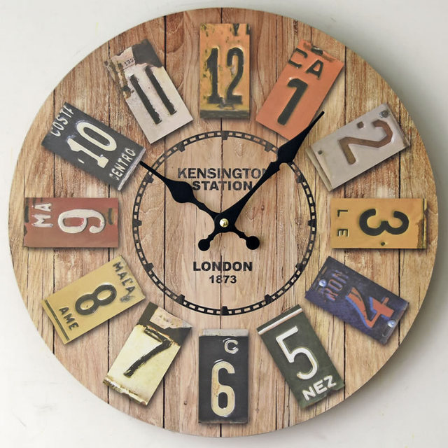 2017 New LONDON 1873 Retro Wooden Clock Colorful Number Vintage Wall ...