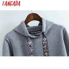 Tangada 2017 Womens Hoodie Sweatshirts Hooded Long Sleeve Beading Black Pullovers Women Female Casual Sweat Femme Autumn RY11