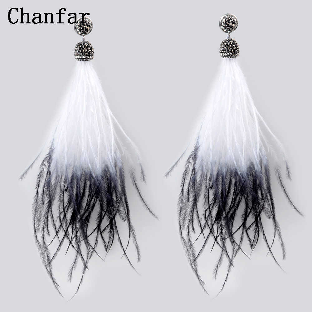 Chanfar Elegant Fluffy Long Feather Earrings Crystal Black White Dangle Bohemian Earrings Jewelry For Women Girl Gifts