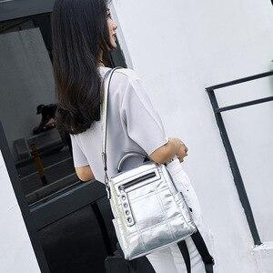 Image 3 - NIGEDU Glitter sırt çantası kadın omuzdan askili çanta çok fonksiyonlu gençler için sırt çantaları kızlar Schoolbag kadın sırt çantası seyahat çantası gümüş